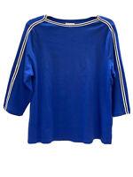 Charter Club women's top  Plus Size 0X Blue Cotton Athletic-Trim T-shirt NWT $44