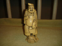 Chinese Japanese Resin Sculpture Man Holding Fish Detailed