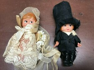 Vintage Celluloid Bride and Groom Cake top / Dollhouse Size Dolls