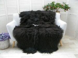 Real ICELANDIC QUAD Sheepskin Rug BLACK BROWN Throw Sofa Floor Bed Cover Q45