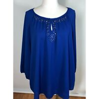 Chicos Size 3 Top Blouse Royal Blue with Metallic Gem Embellishment Womens XL