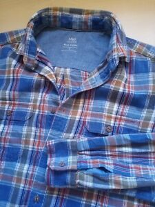 Men's M&S Check Thick Cotton Long Sleeve Shirt Size Small S