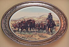Belt Buckle Barlow Photo Reproduction in Color Trail Drive Longhorn 592630c New