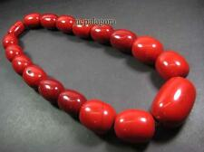 N4546 BOLD Ethnic Red Color Resin Beaded Tribal Fashionable Necklace India TIBET