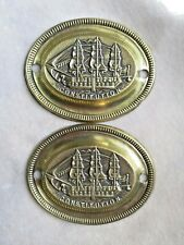 "2 Vintage U.S.S. CONSTITUTION SHIP Repro Brass Drawer Pull Backplates   3"" W"