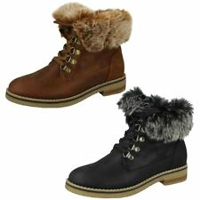 Ladies Black/Cognac Down To Earth Faux Fur Fashion Ankle Boots F50865