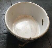 old enamelled enamel washing wash bowl shabby bath chic vintage Dog Washing