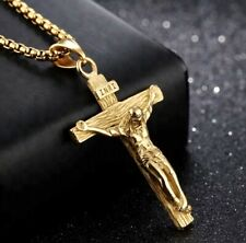 18K Gold Plated Catholic Crucifix and Chain - Touched to Relic of True Cross