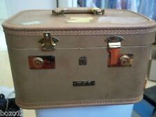VINTAGE US TRUNK CO. COSMETIC TRAVEL TRAIN CASE SUITCASE w/ MIRROR 14x9.5x8""