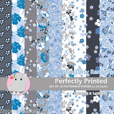18 Patterned Paper Sq 140mm -Perfectly Printed Craft Paper - Ditsy Blue