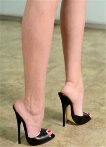 UK Women High Stilettos Heel Sexy Slipper Open Toe Mules Club Sandals Shoes Size