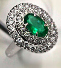 Natural Green Zambia Emerald Engagement 18k white gold Diamond Ring Colombia ++