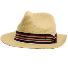 Men's Summer Straw Wide Panama Fedora Sun Hat Fancy Hatband Natural S/M 56cm