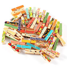 50pcs Mini Cute Painted Natural Wooden Clips Paper Pegs Clothes Photo Craft Clip