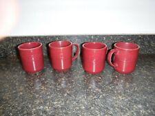Longaberger Pottery Woven Traditions Paprika Coffee Mugs - Set of 4