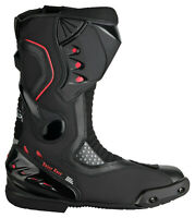 Motorradstiefel hochwertige XLS Touringstiefel Boots Schwarz Rot Gr. 44