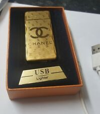 Gold USB ReChargeable chanel Wind proof cigarette lighter GiftBox U.K. Seller