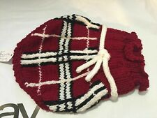 Snooty Dog Sweater Knit Heavy Dress Plaid Burgundy Fancy Design 957 10-13 inch
