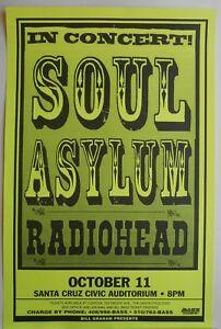 RARE ORIGINAL RADIOHEAD SOUL ASYLUM 10/11/1995 CONCERT POSTER SANTA CRUZ CIVIC
