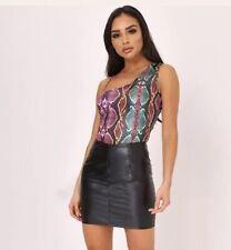 🧡 Snake Print One Shoulder Bodysuit Pink Green Metallic Size 8 10 12 14 🧡