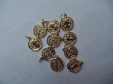 10 Stück  Benediktus Medaille goldfarben 13 mm mit Ringel aus Metall