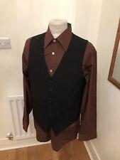 VINTAGE 80's BLACK DRESS DAPPER WAISTCOAT VEST SMALL