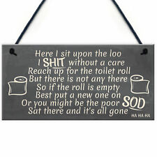 FUNNY Sit Upon The Loo TOILET SIGN Chic Bathroom Door VINTAGE Retro Loo DECOR