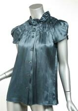 PRADA Womens Teal Blue Silk Ruched Cap Sleeve Button Front Top Blouse 6-42