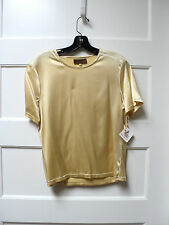 """DOUBLE D RANCHWEAR SATIN """"T"""" SHIRT, COLOR MAIZE, SIZE SMALL, NWT"""