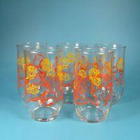 Set of 5 Glass Tumblers Yellow Orange Flowers Marigolds Vintage Tumbler