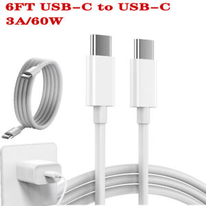 X2 6FT USB-C to C Cable Fast Charger Type PD Charging Cord Quick Charge 3A/60W