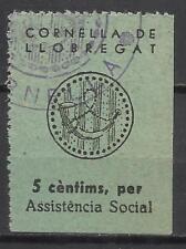 9027-SELLO LOCAL ESPAÑA GUERRA CIVIL CORNELLA DE LLOBREGAT ASISTENCIA SOCIAL BAR
