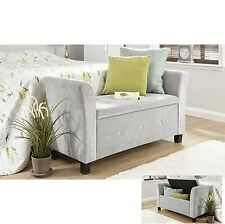 Fabric Storage Bench Chaise Longue Deluxe Stool Bedroom Seat Grey Chair Ottoman
