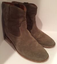 Isabel Marant 40/US 10 Taupe Suede CRISI Hidden Wedge Boots Booties #1488