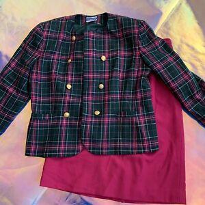 Vintage Women's Pendleton Tartan Pink Green Plaid Wool Suit Skirt Jacket 16