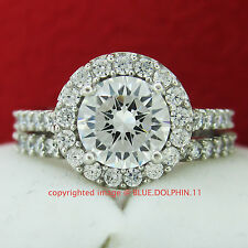 Real Genuine Solid 9ct White Gold Engagement Wedding Rings Set Simulated Diamond