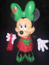 Disney Minnie Mouse Doll With Snap On Christmas Dress- Bow- Purse- Shoes