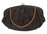 Vintage 1940's Black Taffeta Cocktail Evening Bag Rhinestone Clasp