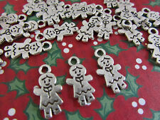 20pc Silver Plated Holiday Christmas Charm/bead/Craft K102-Gingerbread Girl