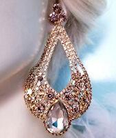 Huge Drag Queen Topaz Rhinestone Chandelier Earrings Bridal Prom Pageant 4.8 in