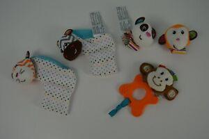 Infantino Wrist Rattles Booties Nuby Monkey Plush Panda Bear Tiger Zebra Toy