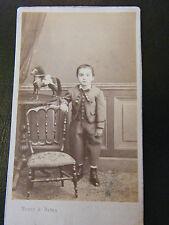 Photographie Enfant et Son Cheval de Bois XIX ème Siècle Maury & Debas