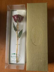 Real Red Rose Preserved In 24K Gold From Crown Jewelers Pittsfield MA Very Nice