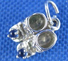 VINTAGE STERLING SILVER BABY SHOES WITH BLUE STONES CHARM