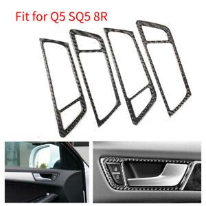 4Pcs Carbon Fiber Car Interior Door Handle Frame Cover Trim Fit for Q5 SQ5 8R AU