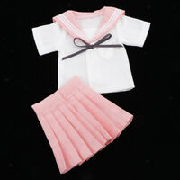 "1/4 Pink Student Uniform Outfit for BJD for Dollfie for 18"" Dolls Clothes"