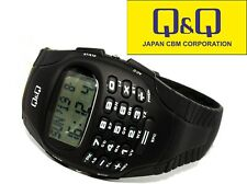 Cool Digital Watch Calculator Stopwatch Alarm Worldtime 24 Data Memory from Q&q