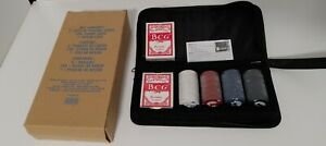 BCG POKER SET 2- DECK PLAYING CARDS 100 CHIPS IN NYLON CARRY CASE