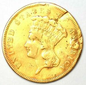 1855 Indian Three Dollar Gold Coin ($3) - VF Details (Damage) - Rare Coin!