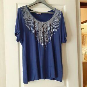 Tee shirt femme 46/48 celaia neuf a paillettes bleu roi